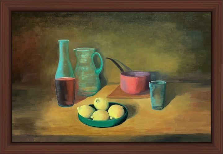 Quatre citrons - Painting,  21.3x31.9x0.4 in, ©2018 by Jean Calmon -