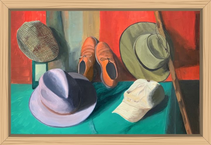 Mes chapeaux - Painting,  21.3x31.9x0.4 in, ©2020 by Jean Calmon -