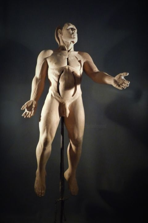 Affranchi - Sculpture,  70.9 in ©2012 by Jean-Charles Ferrand -                                                        Figurative Art, Wood, Nude