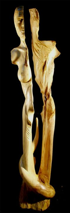 Adam et Eve - Sculpture,  53.9 in, ©2008 by Jean-Charles Ferrand -                                                                                                                                                                                                                          Expressionism, expressionism-591, Wood, Classical mythology