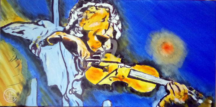 D LO CKOOD n°337 - Painting,  30x60x5 cm ©2018 by Jean Claude Ciutad-savary -                                                            Expressionism, Canvas, Music, art, musique, huile, moderne, violon