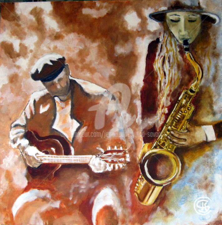 jazz-couple  n° 336 03/2018 - Painting,  50x50x5 cm ©2018 by Jean Claude Ciutad-savary -                                                            Expressionism, Canvas, Music, jazz, huile, toile, couple