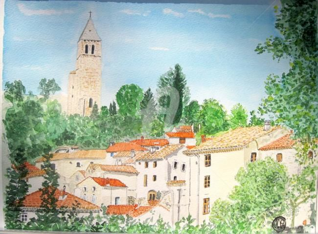 OLARGUES 34 - Painting,  11.8x15.8 in, ©2010 by Jean Claude Ciutad-Savary -                                                                                                                                                                                                                                                                                                                                                                                                          Figurative, figurative-594, Rural life, Home, Cityscape, art, peinture, paysage^