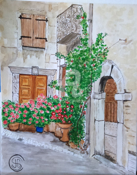 Roquebrun les portes et les fleurs n°323 05/2016 - Painting,  15.8x11.8 in, ©2016 by Jean Claude Ciutad-Savary -                                                                                                                                                                                                                                                                                                                                                                                                          Expressionism, expressionism-591, Cityscape, Rural life, Home, Wall, Nature, Aquarelle