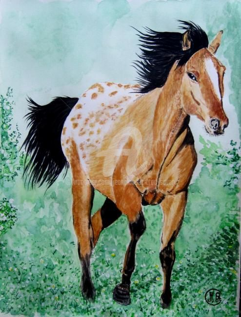 CHEVAL 18062011 - Painting,  15.8x11.8 in, ©2011 by Jean Claude Ciutad-Savary -                                                                                                                                                                          Figurative, figurative-594, http://www.artabus.com/papetart/img0274