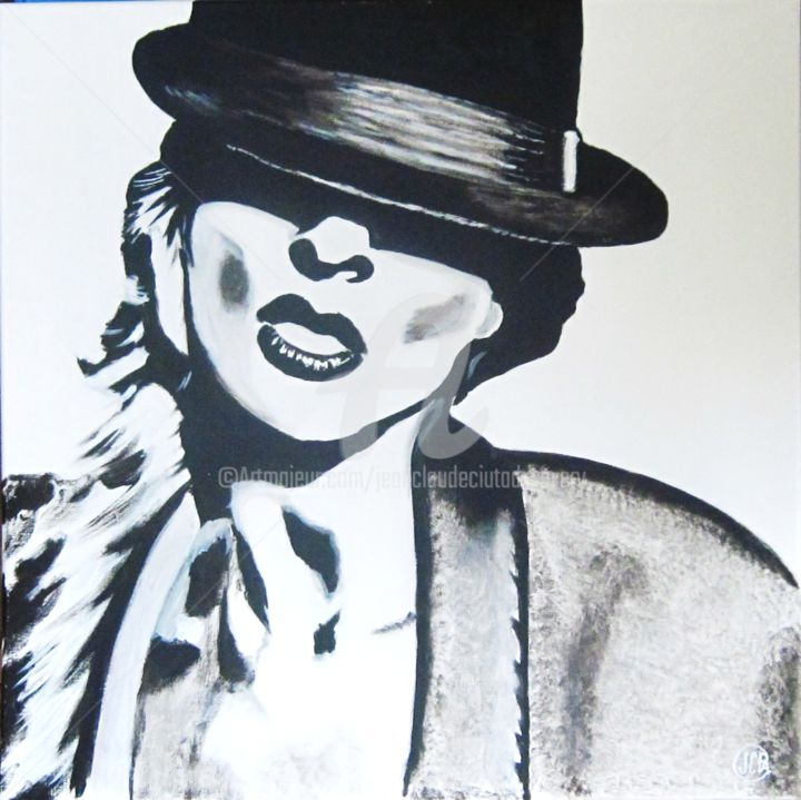 ChapMadam - Painting,  60x60 cm ©2013 by Jean Claude Ciutad-savary -                                                                                                                                                                        Expressionism, Art Deco, Modernism, Contemporary painting, Pop Art, Portraiture, Canvas, Women, Fashion, Black and White, People, Portraits, huile, peinture, art, artiste peintre, expressionnisme.
