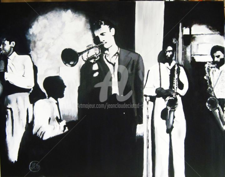 Jazz groupe CB - Painting,  90x70 cm ©2013 by Jean Claude Ciutad-savary -                                                            Contemporary painting, Canvas, Music, huile, peinture, art, artiste peintre, expressionnisme.