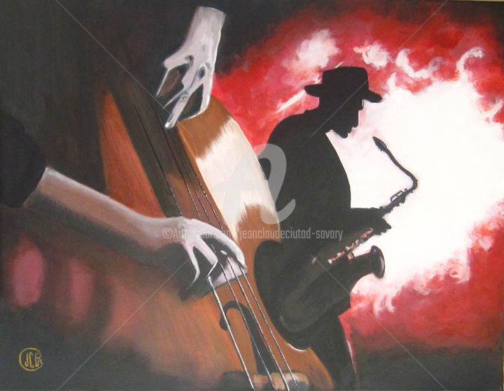 Les gars du jazz - Painting,  90x70 cm ©2013 by Jean Claude Ciutad-savary -                                                            Contemporary painting, Canvas, Music, peintre, artiste, art, dessin huile sur toile