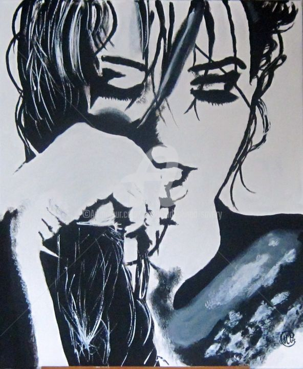 LUCIE - Painting,  25.6x21.3 in, ©2014 by Jean Claude Ciutad-Savary -                                                                                                                                                                                                                                                                                                                                                              Expressionism, expressionism-591, Black and White, Femme, huile, peinture, art
