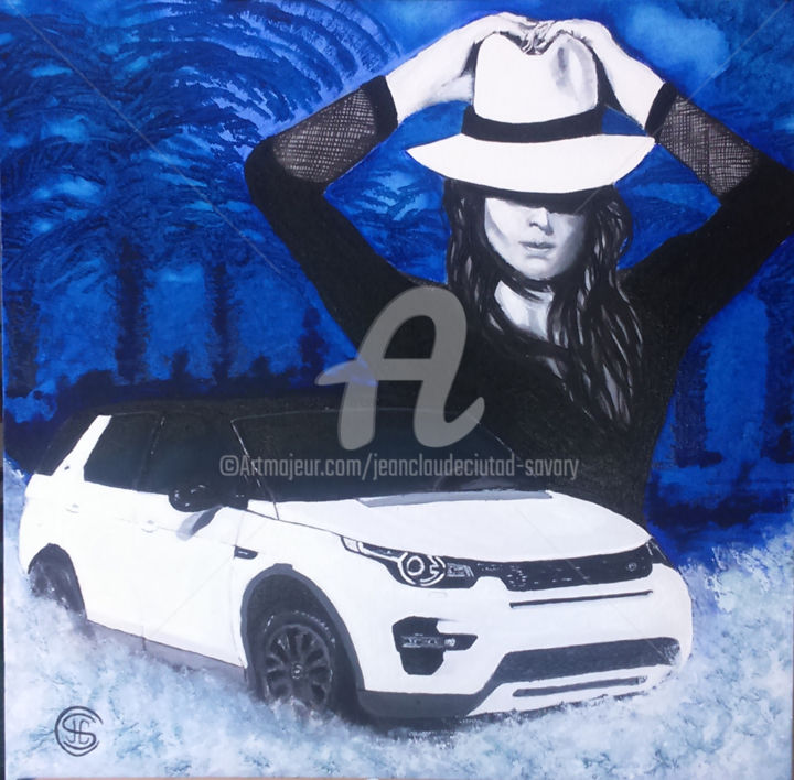 LAND ILES FEMME n°322 05/2016 - Painting,  23.6x23.6x2 in, ©2016 by Jean Claude Ciutad-Savary -                                                                                                                                                                                                                                                                                                                                                                                                                                                                                                  Expressionism, expressionism-591, Automobile, Women, Fashion, Nature, toile, huile, femme, automobile