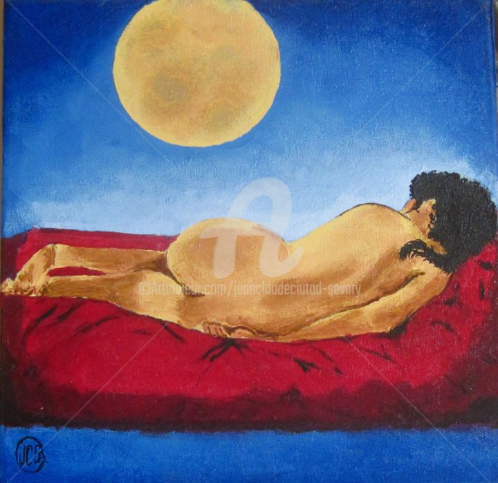 Au clair de lune n°250 - Painting,  11.8x11.8 in, ©2013 by Jean Claude Ciutad-Savary -                                                                                                                                                                                                                                                                                                                  Expressionism, expressionism-591, Women, huile sur toile, femme nue, nue