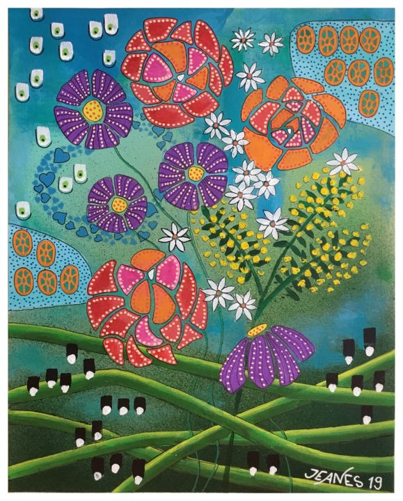 """Painting titled """"GARDEN DREAMS"""" by Jeanes, Original Art, Acrylic"""
