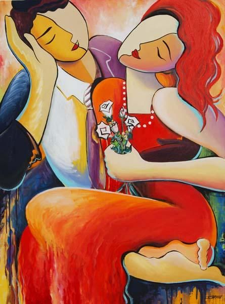"""Painting titled """"Cherishing the Mome…"""" by Jeanette Jarville, Original Art, Acrylic"""