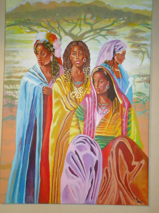 Belles-africaines-avant-la-fete - Painting ©2016 by Marès -                                                        Contemporary painting, Canvas, Travel