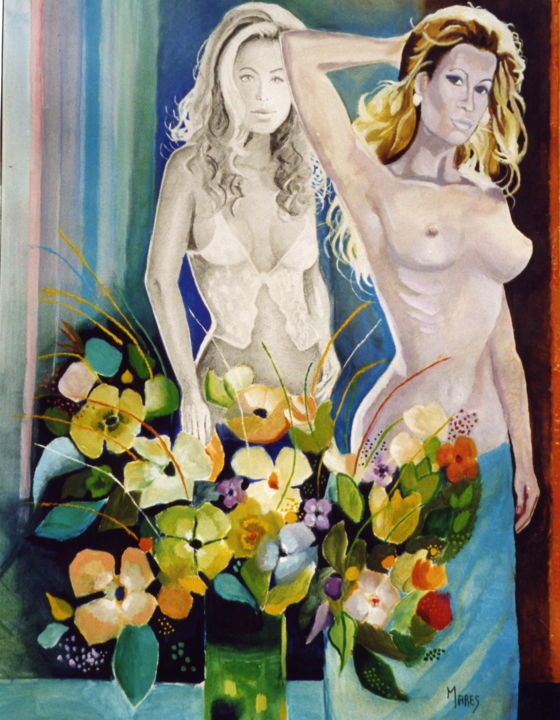 Jeunes filles en nuisette - Painting ©2016 by Marès -                                                        Contemporary painting, Canvas, Love / Romance