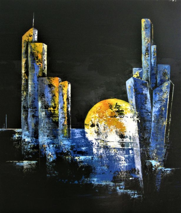 Introspection - Peinture,  31,5x31,5 in, ©2020 par Jean Maurice Silvain -                                                                                                                          Abstract, abstract-570