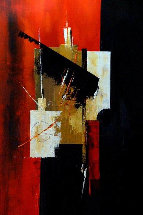 Equilibre... 92 x 73 - Peinture,  36,2x28,7 in, ©2013 par Jean Maurice Silvain -                                                              abstraction figurative