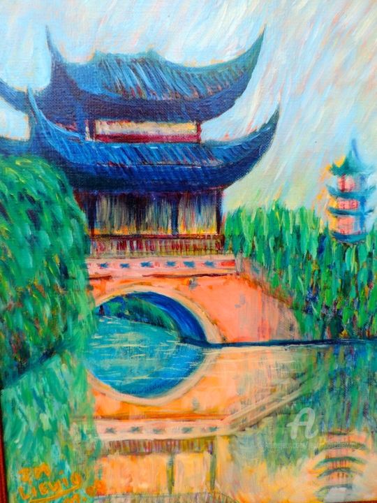 TEMPLE DE CHINE - Painting,  13.8x10.6 in, ©2010 by Jean-Michel Liewig -                                                                                                                                                                          Figurative, figurative-594, UNE TEMPLE CHINOIS AVEC UNE RIVIERE ET UN PONT