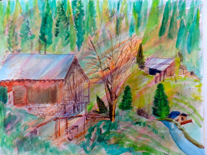 Chalet Beaufortain - Drawing, ©2013 by jean-michel LIEWIG -                                                                                                                                                                                                      Colors, chalet;Beaufort, montagnes, sapins