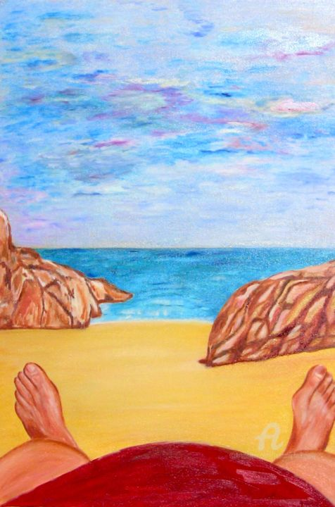 Allongé sur la plage - Painting, ©2014 by jean-michel LIEWIG -                                                              allongé sur la plage