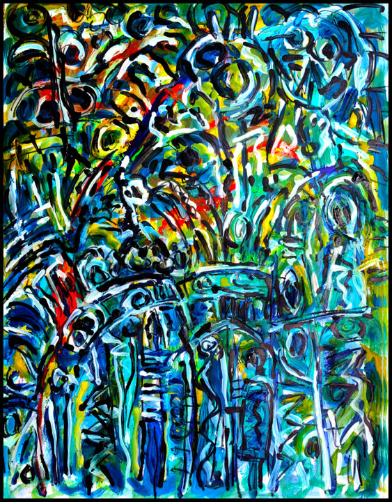 DISTANT ROMANCE - Painting,  25.6x19.7x0.4 in, ©2017 by Jean Mirre -                                                                                                                                                                                                                                                                                                                                                              Abstract, abstract-570, Love / Romance, Abstract Art, Colors, Light, romance