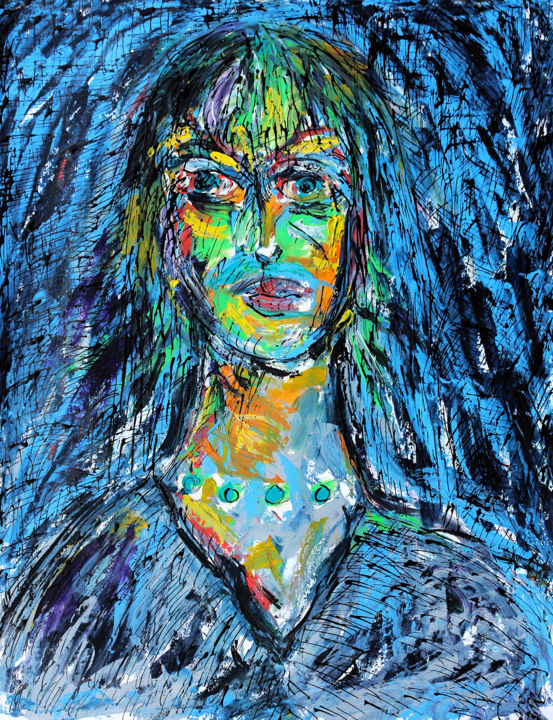 PEARLY - Peinture,  25,6x19,7x0,4 in, ©2018 par Jean Mirre -                                                                                                                                                                                                                          Expressionism, expressionism-591, Personnes, TURQUOISE PEARLS