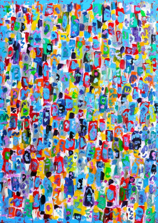 SEA OF JOY - Painting,  27.6x19.7x0.4 in, ©2019 by Jean Mirre -                                                                                                                                                                                                                                                                      Abstract, abstract-570, Abstract Art, People, SEA OF JOY