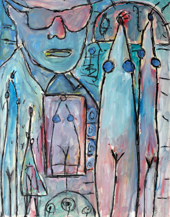 PHOTOGRAPHE - Painting,  25.6x19.7x0.4 in, ©2018 by Jean Mirre -                                                                                                                                                                                                                          Expressionism, expressionism-591, People, PHOTOGRAPHE