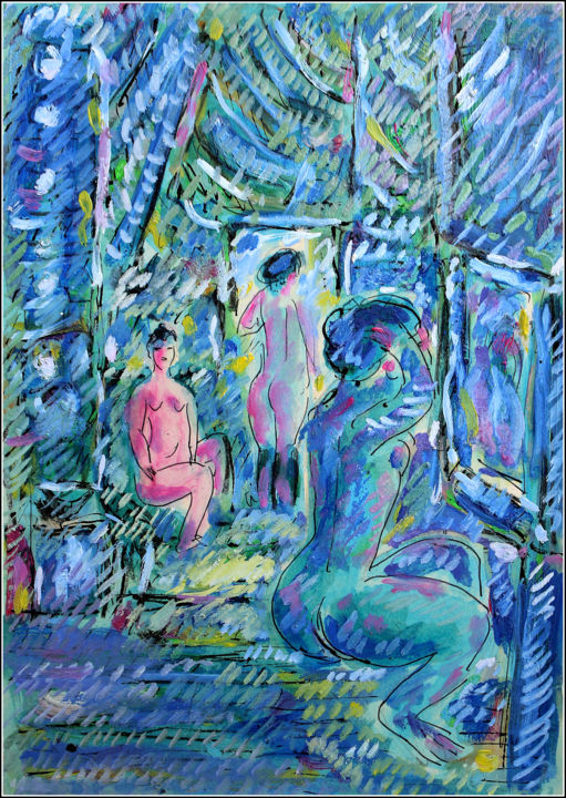 COULISSES DES FOLIES BERGERE - Painting,  11.7x8.3x0.4 in, ©2019 by Jean Mirre -                                                                                                                                                                                                                                                                                                                                                                                                          Expressionism, expressionism-591, Women, Places, Light, People, FOLIES BERGERE, PARIS