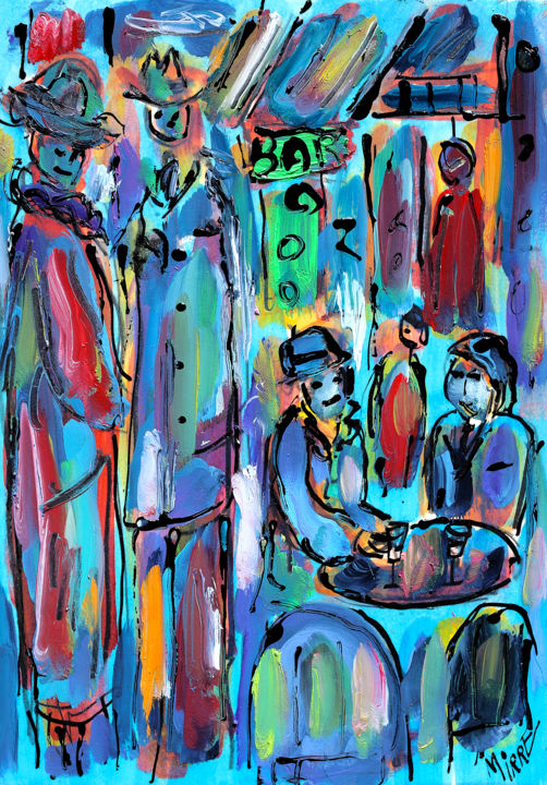 BAR PARISIEN - Painting,  11.7x8.3x0.4 in, ©2019 by Jean Mirre -                                                                                                                                                                                                                          Expressionism, expressionism-591, People, BAR PARISIEN