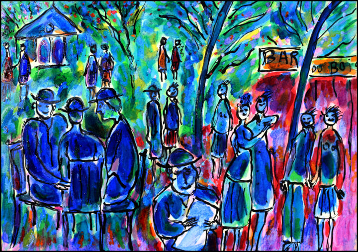 BAR DU BOIS - Painting,  11.8x16.5x0.4 in, ©2019 by Jean Mirre -                                                                                                                                                                                                                                                                      Expressionism, expressionism-591, People, Bar, bois