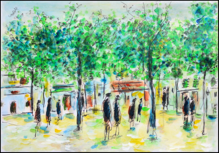 TERTRE - Painting,  8.3x11.8x0.4 in, ©2019 by Jean Mirre -                                                                                                                                                                                                                          Expressionism, expressionism-591, Landscape, Paris