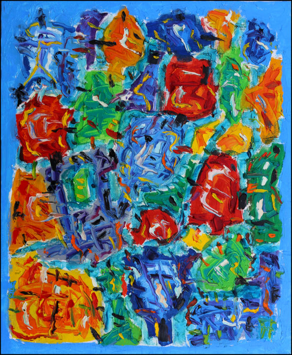 FLOWERS - Painting,  24x19.7x0.4 in, ©2019 by Jean Mirre -                                                                                                                                                                                                                          Abstract, abstract-570, Flower, Flowers
