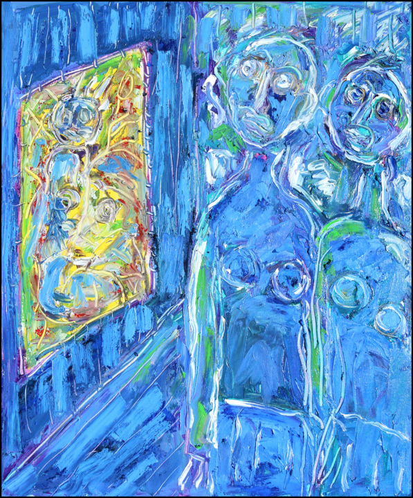 Modern Art Exhib - Painting,  24x19.7x0.4 in ©2019 by Jean Mirre -                                            Expressionism, People, Modern Art Exhib