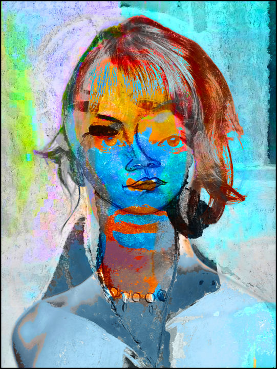Donzelle - Digital Arts,  35.4x27.6x0.4 in ©2019 by Jean Mirre -                                            Expressionism, People, portrait