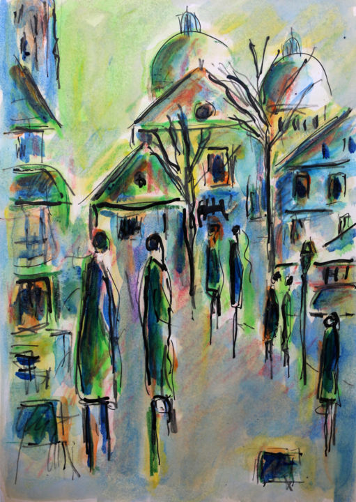 MONTMARTRE - Painting,  11.7x8.3x0.4 in ©2019 by Jean Mirre -                                            Expressionism, Cityscape, Paris