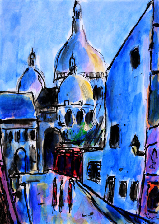 BLUE MONTMARTRE - Painting,  11.7x8.3x0.4 in ©2019 by Jean Mirre -                                            Expressionism, Cityscape, BLUE MONTMARTRE