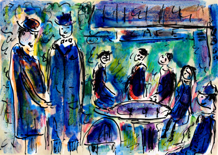 Famille au café - Painting,  8.3x11.7x0.4 in, ©2019 by Jean Mirre -                                                                                                                                                                                                                          Expressionism, expressionism-591, People, café