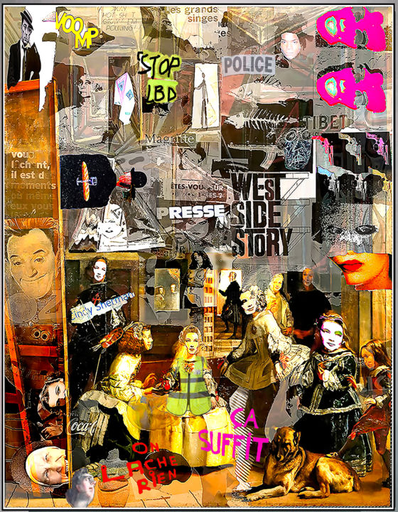 STOP LBD - Digital Arts,  31.5x23.6x0.4 in, ©2019 by Jean Mirre -                                                                                                                                                                                                                          Expressionism, expressionism-591, Cityscape, Paris