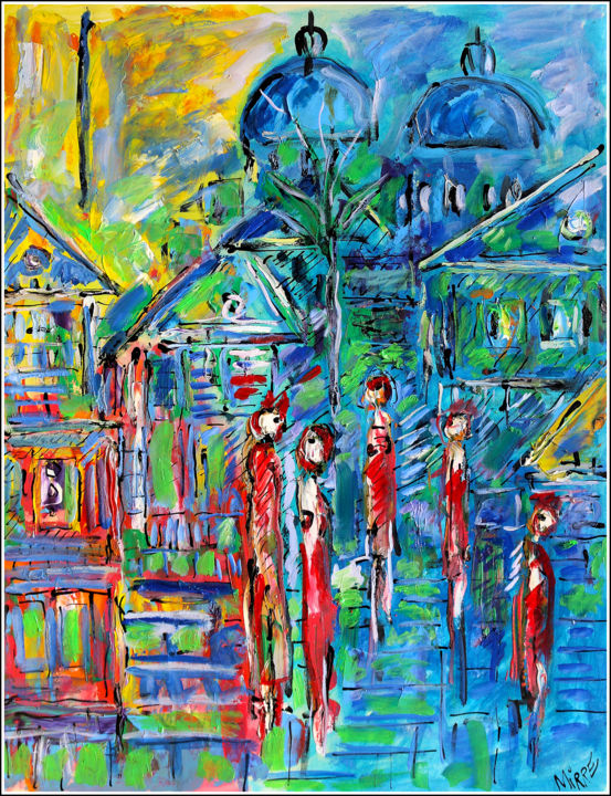 Les kiosques à journaux - Painting,  25.6x19.7x0.4 in, ©2019 by Jean Mirre -                                                                                                                                                                                                                                                                      Expressionism, expressionism-591, Cityscape, People, Paris