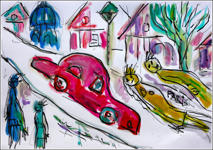 ROLLS ROSE - Painting,  8.3x11.8x0.4 in, ©2019 by Jean Mirre -                                                                                                                                                                                                                                                                      Expressionism, expressionism-591, Automobile, Cityscape, Paris