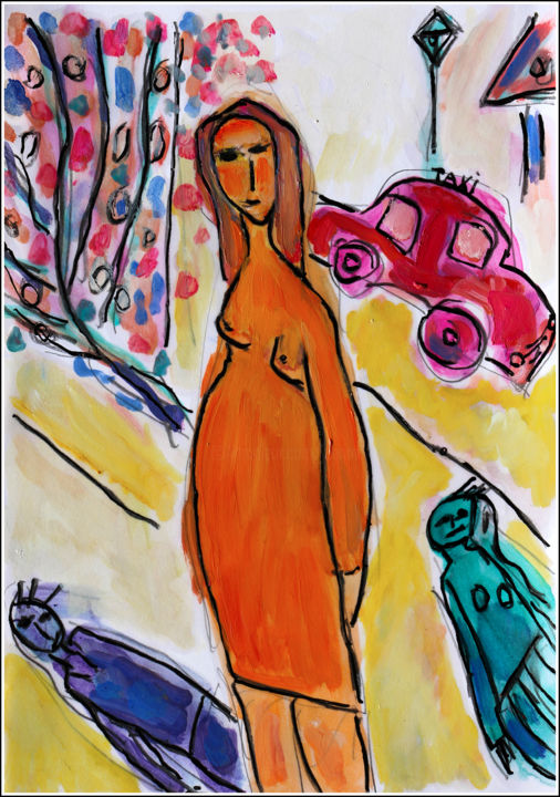 Femme au Taxi - Painting,  11.8x8.3x0.4 in, ©2019 by Jean Mirre -                                                                                                                                                                                                                                                                      Expressionism, expressionism-591, Cityscape, People, Paris