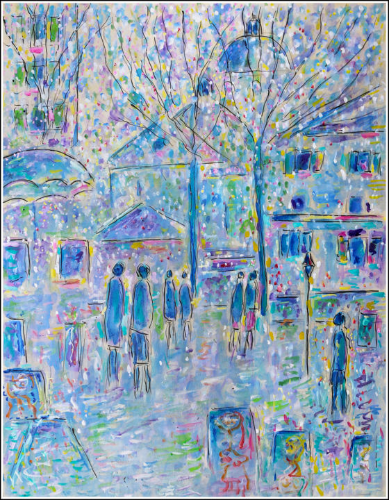 Place du Tertre au printemps - Painting,  25.6x19.7x0.4 in, ©2013 by Jean Mirre -                                                                                                                                                                                                                                                                                                                  Expressionism, expressionism-591, Cityscape, People, Paris, Montmartre