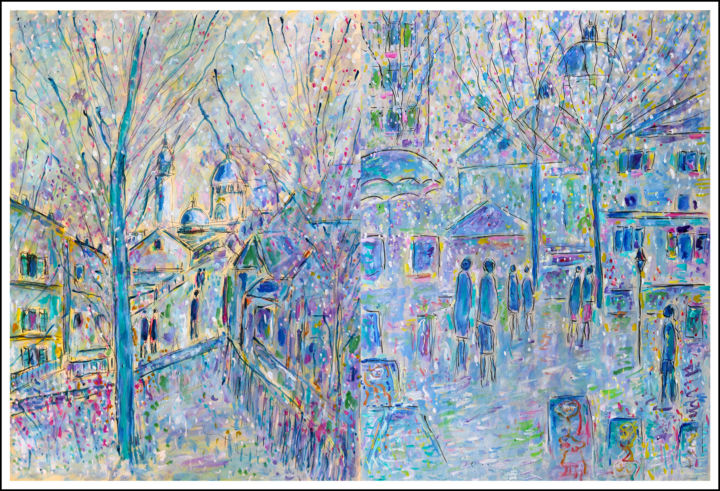 Diptyque Tertre Onirique - Painting,  25.6x39.4x0.4 in, ©2019 by Jean Mirre -                                                                                                                                                                                                                                                                                                                  Expressionism, expressionism-591, Cityscape, People, Paris, Montmartre