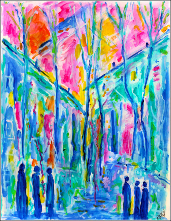 EVENING - Painting,  25.6x19.7x0.4 in, ©2019 by Jean Mirre -                                                                                                                                                                                                                                                                                                                  Expressionism, expressionism-591, Cityscape, People, soir, evening
