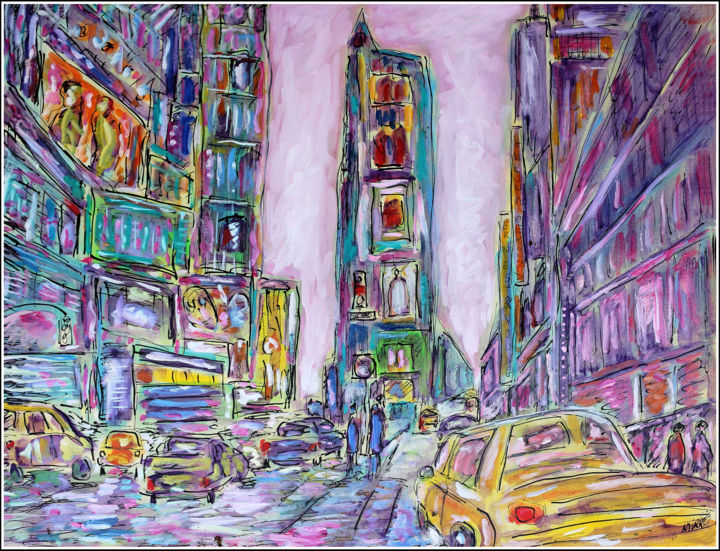 NYC Melody - Painting,  19.7x25.6x0.4 in, ©2020 by Jean Mirre -                                                                                                                                                                                                                          Expressionism, expressionism-591, Cityscape, NYC