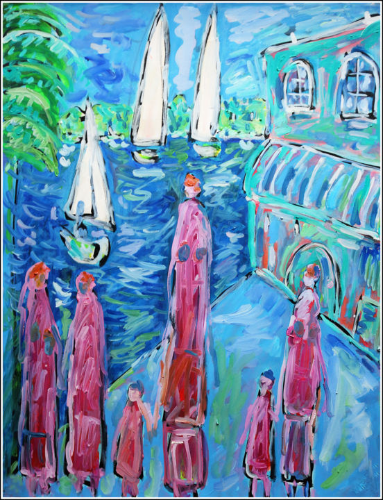 VACANCES - Painting,  25.6x19.7x0.4 in, ©2020 by Jean Mirre -                                                                                                                                                                                                                                                                                                                                                              Expressionism, expressionism-591, Seascape, People, vacances, mer, bleu