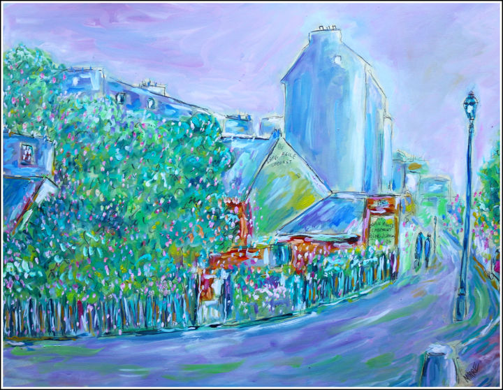 MONTMARTRE FLEURI - Painting,  19.7x25.6x0.4 in, ©2020 by Jean Mirre -                                                                                                                                                                                                                                                                                                                  Expressionism, expressionism-591, Cityscape, People, Paris, Montmartre