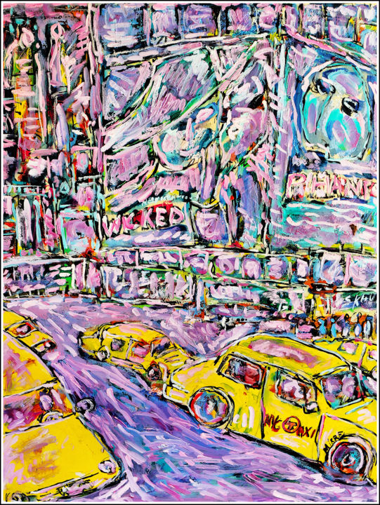 YELLOW CABS - Painting,  25.6x19.7x0.4 in, ©2020 by Jean Mirre -                                                                                                                                                                                                                                                                      Expressionism, expressionism-591, Cityscape, NYC, USA