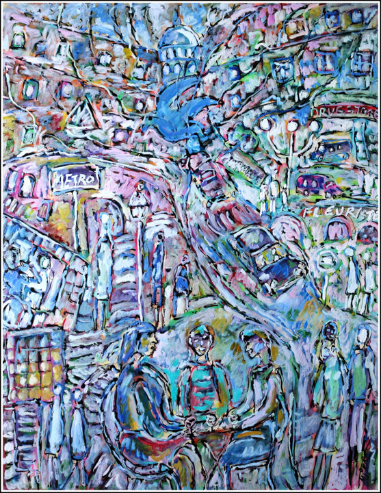 COLOMBE - Painting,  25.6x19.7x0.4 in, ©2020 by Jean Mirre -                                                                                                                                                                                                                                                                      Expressionism, expressionism-591, Birds, Cityscape, Paris